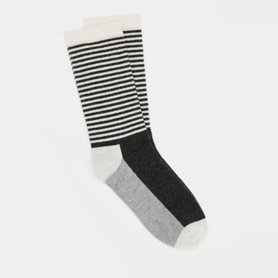 Cashmere Silk Viscose Color-Blocked Striped Crew Sock