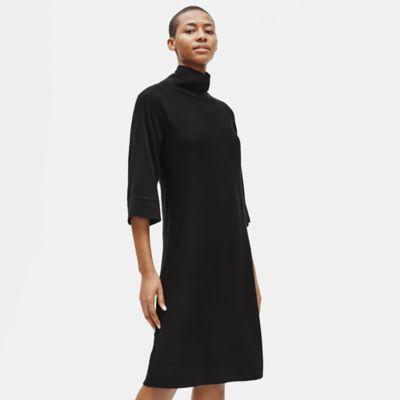 Merino Mock Neck Dress in Responsible Wool