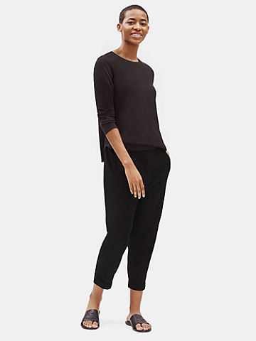 Organic Cotton Stretch Slouchy Cropped Pant