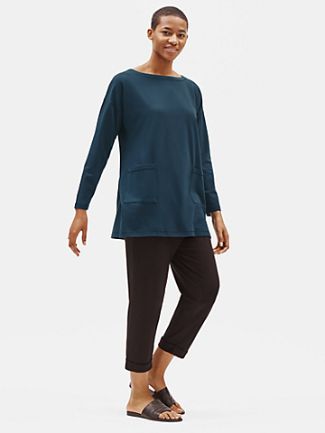 Traceable Organic Cotton Stretch Bateau Neck Tunic