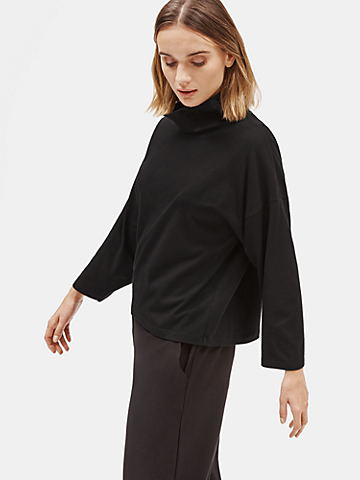 Organic Cotton Stretch Funnel Neck Top
