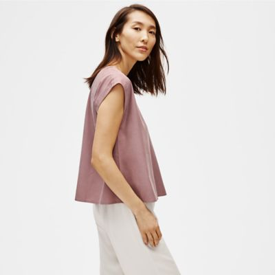 Sandwashed Tencel Jewel Neck Top