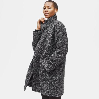 Curly Alpaca High Collar Coat