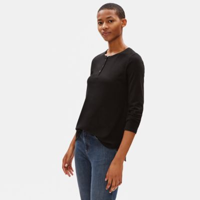 Organic Cotton Jersey Henley Top