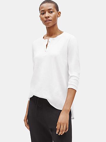 Organic Cotton Jersey Henley Top