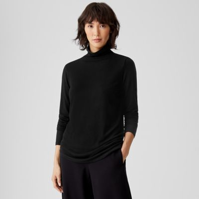 Tencel & Cashmere Stretch Funnel Neck Top