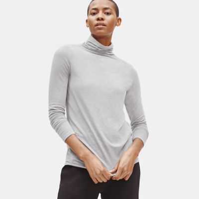 Cashmere Stretch Blend Funnel Neck Top