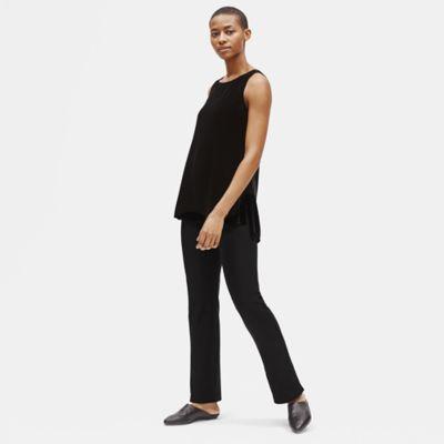 Washable Stretch Crepe Slim Boot-Cut Pant