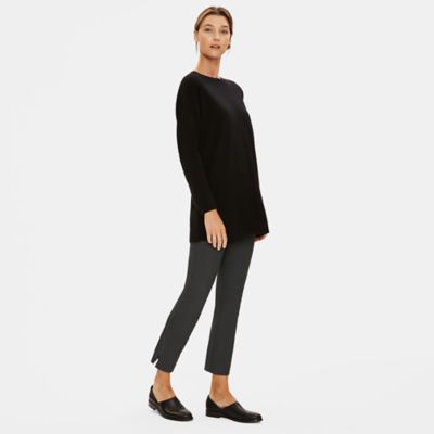 Washable Stretch Crepe Slim Ankle Pant with Zipper Slits