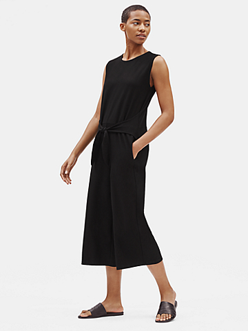 Lightweight Washable Stretch Crepe Jumpsuit with Tie