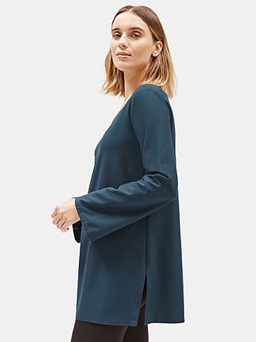 Lightweight Washable Stretch Crepe V-Neck Tunic