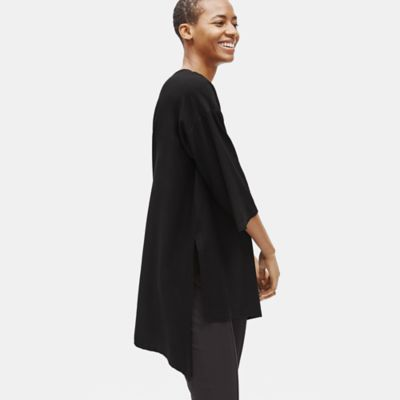 Lightweight Washable Stretch Crepe Asymmetrical Tunic