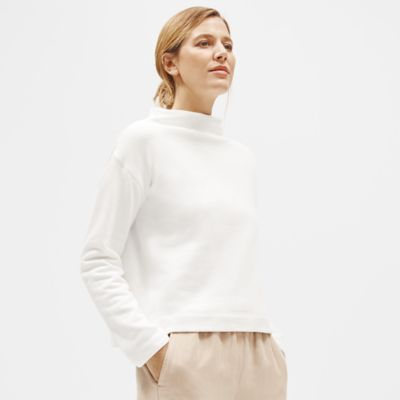 Organic Cotton Terry Funnel Neck Top