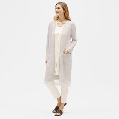 Organic Linen Crepe Sparkle Long Cardigan