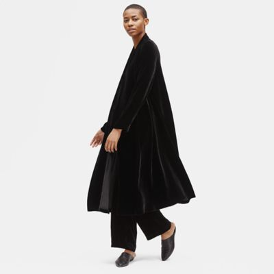 Velvet Shawl Collar Long Jacket
