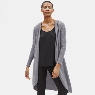 Seamless Italian Cashmere Hooded Cardigan