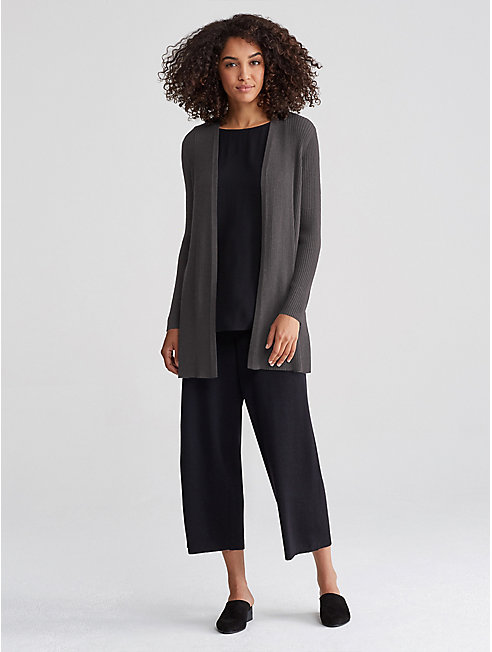 Long Kimono Cardigan in Peppered Organic Cotton Wool | EILEEN FISHER