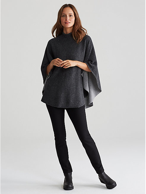 Lofty Recycled Cashmere Funnel Neck Poncho
