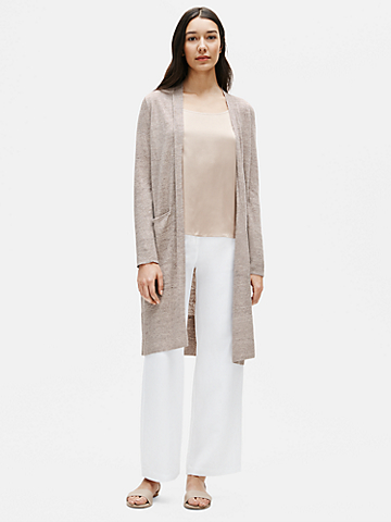 Organic Linen Melange Long Cardigan