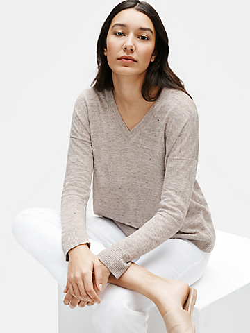 Organic Linen Melange V-Neck Box-Top