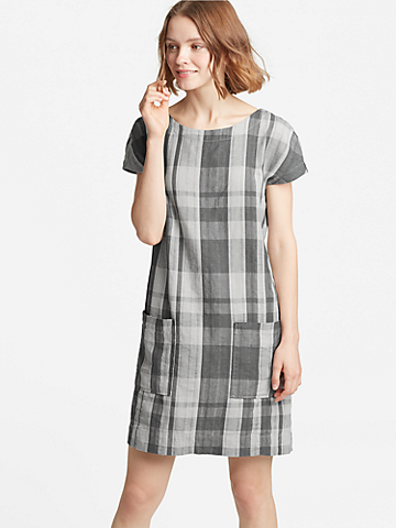 Organic Linen Cotton Plaid V-Back Dress