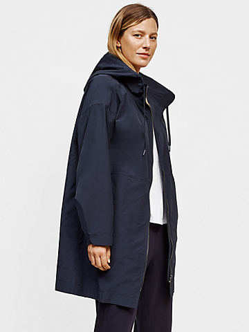 Light Organic Cotton Nylon Hooded Long Coat