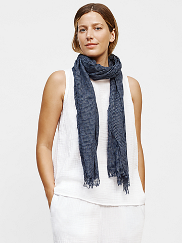Organic Cotton Mini Check Scarf
