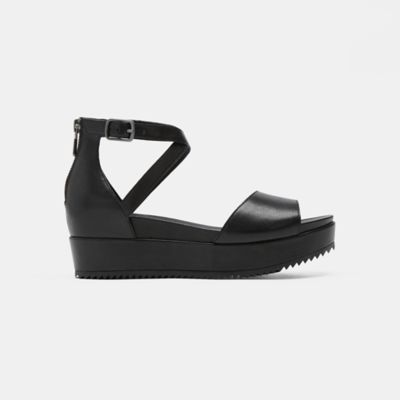 Emmy Tumbled Leather Wedge Sandal