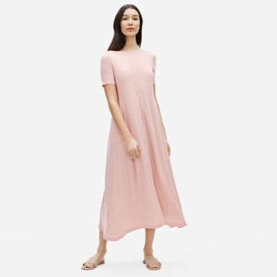 Fine Tencel Jersey Crew Neck Maxi Dress