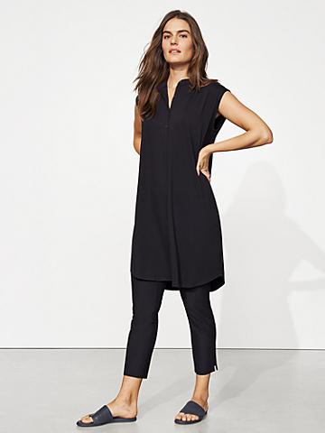 Tencel Jersey Mandarin Collar Dress