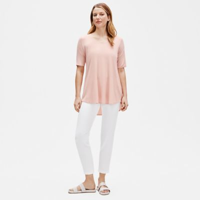 Fine Tencel Jersey Rounded V-Neck Tunic