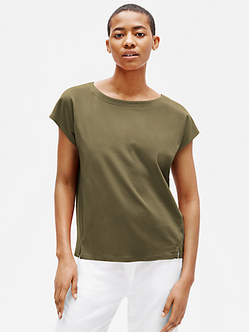 Organic Cotton Interlock Bateau Neck Top