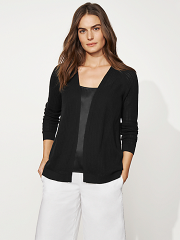 Organic Cotton Rib Stretch Cardigan