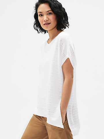 Organic Cotton Rib Stretch Bateau Neck Top