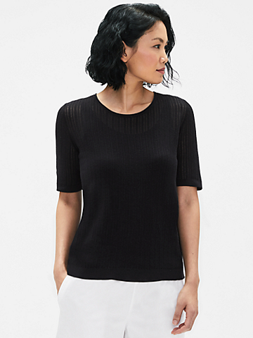 Organic Cotton Rib Stretch Crew Neck Top