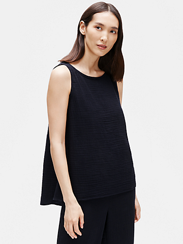 Organic Cotton Gauze Bateau Neck Shell