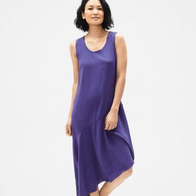 Silk Georgette Crepe Asymmetrical Dress