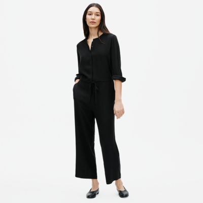 Silk Georgette Crepe Mandarin Collar Jumpsuit
