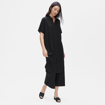 Silk Georgette Crepe Shirtdress