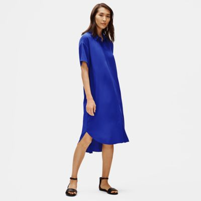 Silk Georgette Crepe Shirtdress