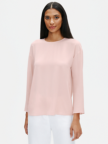 Silk Georgette Crepe Round Neck Top