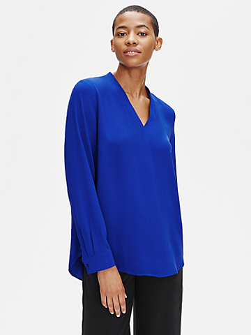 Silk Georgette Crepe V-Neck Top