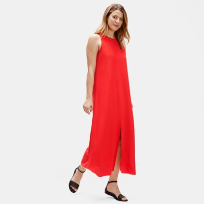 Tencel & Viscose Crepe Front Slit Maxi Dress