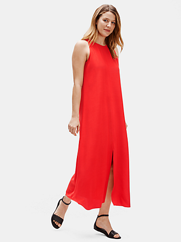 Tencel & Viscose Crepe Front Slit Maxi Dress