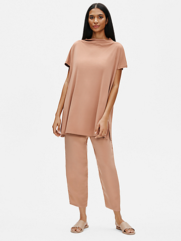 Stretch Silk Jersey Funnel Neck Tunic