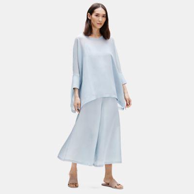 Sheer Silk Georgette Elbow-Sleeve Top