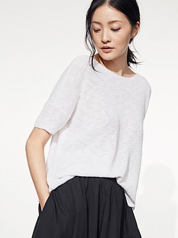 Organic Cotton Linen Slub Jewel Neck Top