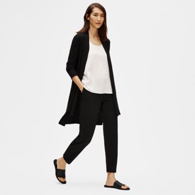 Organic Linen Crepe Stretch Long Cardigan