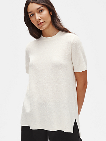 Organic Linen Crepe Stretch Mock Neck Tunic