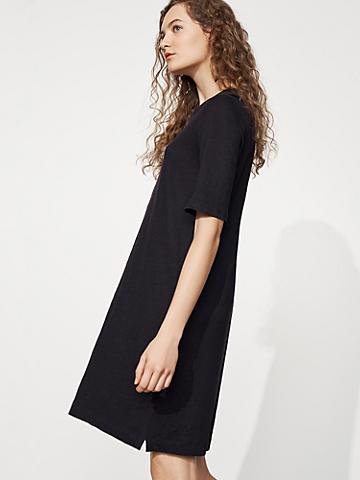 Organic Linen Jersey Crew Neck Dress